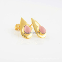 Pink Opal Designer 18k banhado a ouro em prata esterlina brinco de pedras preciosas