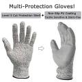 Уровень сертификат CE 5 серый PU сократить устойчивостью перчатки безопасности труда