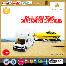 Newest kids toy pull back alloy 1 48 house car trailer with pontoon boat toy