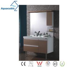 Gabinete de baño con espejo de madera clásica (AME097)