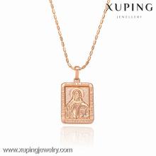 32286-Xuping atacado encantos retângulo em forma de pingente com ouro 18k chapeado