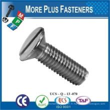 Fabriqué à Taiwan ISO 2009 Slotted Flat Countersunk Head Machine Screw Acier à faible teneur en carbone en zinc plaqué