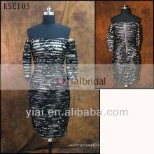 RSE103 corto de encaje negro de hombro vestido de cóctel
