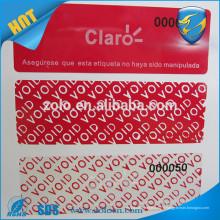 Spécialiste anti-faux adhésif anti-effraction garantie à faible résidu sécurité void sticker