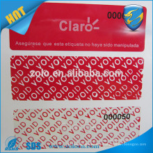 Professional Anti fake adhesive tamper evident low residue warranty security void sticker