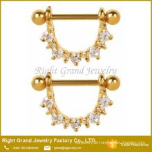 316L Set chirurgischen Stahl klare kubische Zirkon Zinke Gold plattiert Brusthütchen Ringe