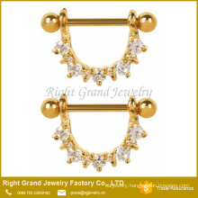 316L Surgical Steel Clear Cubic Zircon Prong Set Gold Plated Nipple Rings Shields