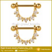 316L acier chirurgical Clear Zircon cubique Prong Set Gold plaqué mamelon anneaux Shields