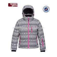 Crianças impermeável acolchoado 100% poliéster jaqueta de esqui