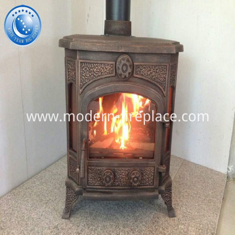 Traditional Rustic Wood Burning Fireplace