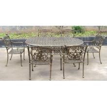 Juego de comedor de aluminio de molde Metal Patio jardín al aire libre muebles