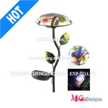 Garden Mushroom Light Metal e Vidro Solar Outdoor Lights