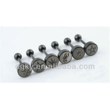 Black Plated Tongue Piercing Picture Barbell Tongue