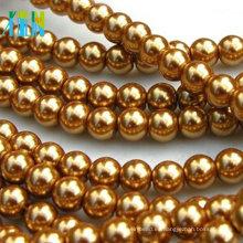 Perlas sueltas redondas de vidrio dorado con cuentas sueltas de 8 mm