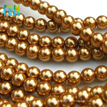Perles rondes en verre doré 8mm