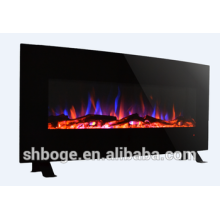 "48"" curved wall-mounted and freestanding decor flame electric fireplace heater"