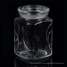 Großes quadratisches Glaskerzenglas mit Glasdeckel