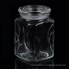 Grand bocal en verre carré avec couvercle en verre