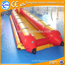 Double sides 12 person pvc inflatable boat, red and yellow inflatable flying fish banana boat