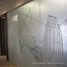 Guangdong 8mm 10mm Acid Etched Sandblasted Tempered Frosted Glass for office partition