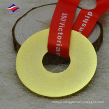 Sandy effect blank circle shape medals and medallion with ribbon