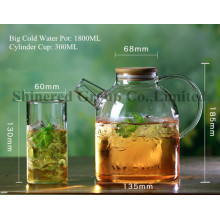 1.8L Short Mouth Hot Water Bottle, Cold Water Kettle Borosilicate Glass Kettle with Handle