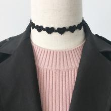 Black Charm Choker Heart-Shaped Lace Necklace Untuk Lady