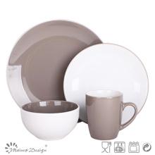 Ensemble de vaisselle de couleur grise avec grès brillant
