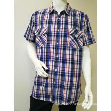 100%COTTON men's yarn dye short sleeve casual shirt