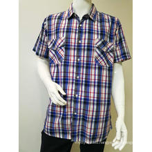 100%COTTON men's yarn dye short sleeve casual shirt