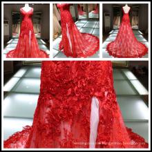 2017 Red Lace Applique A-line High Split Strap V-neck Lace-up Wedding Dress Tiamero 1A887