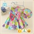 Kindbabykleidung 2016 preiswerter Sommerstrand beiläufiges sleeveless späteste Parteiabnutzungs-Blumenmädchenkleider für 1-5 Jahre mit Hut