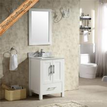 Vaidade de banheiro de madeira sólida com único pia