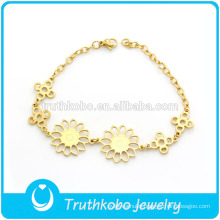 TKB-JB0013 Adorable flowers jewelry baby bracelets 316L stainless steel gold charm bracelets