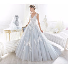 V Neck Blue Tulle Applique Bridal Wedding Dresses