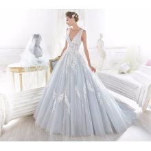 V Neck Azul Tule Applique Vestidos de noiva nupcial