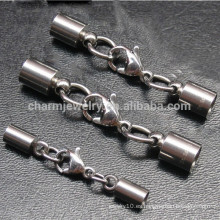 BXG005 Acero inoxidable Tapas - Tapa con correa de garra de langosta y cadena de extensión para el cordón de cuero Joyería DIY Encontrar