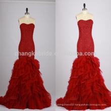 2016 Burgundy Sweetheart Mermaid Ruffle Wedding Dress Vintage Color Wedding Gown For Bride