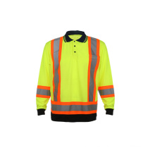 Camiseta de polo reflexiva de seguridad fluorescente