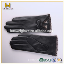 Bowknot black leather fashion gloves with lace