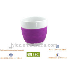350cc belly shape mug with silicone band, large size,set of 4 in PVC