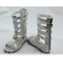 Los últimos calientes vendedores calientes calzan los zapatos de las sandalias del gladiador de la rodilla de la plata de la muchacha