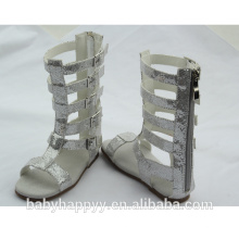 latest hot selling kids girl silver knee high gladiator sandals shoes
