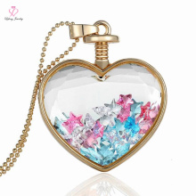Chapado en oro flotante corazón curativo collar de cristal hecho a mano