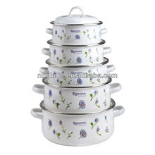 set of 5 enamel casserole with metal lid and fashional design