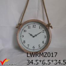 Cuerda colgante ronda de metal antiguo reloj de pared de antigüedades