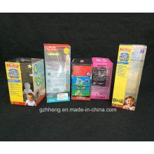 Impresión plegable de la caja de empaquetado del regalo de la tarjeta de papel modificada para requisitos particulares (caja plástica)