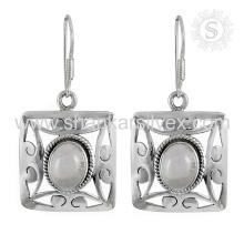 Pendientes de plata de la piedra preciosa del cuarzo hermoso 925 joyería de plata de la joyería hecha a mano de la plata