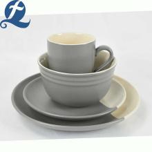 Vaisselle en céramique grise d'épissage de catégorie comestible de conception unique faite sur commande de mode