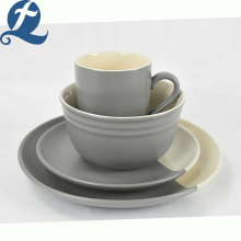 Fashion Custom Unique Design Food Grade Splicing Grey Ceramic Tableware